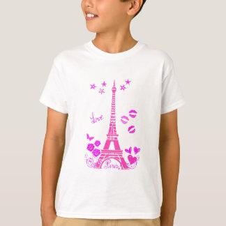 LOVE PARIS PINK EIFFEL PRINT T-SHIRT