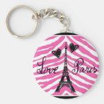 LOVE PARIS PINK ZEBRA EIFFEL TOWER HEART PRINT BASIC ROUND BUTTON KEY RING