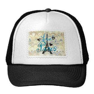 LOVE PARIS POSTAGE STAMP PRINT TRUCKER HAT