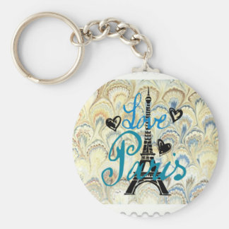 LOVE PARIS POSTAGE STAMP PRINT BASIC ROUND BUTTON KEY RING