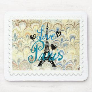 LOVE PARIS POSTAGE STAMP PRINT MOUSE PAD