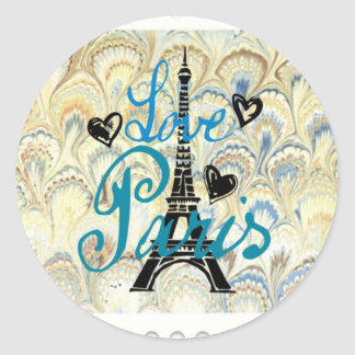 LOVE PARIS POSTAGE STAMP PRINT ROUND STICKER