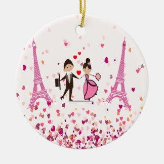 LOVE PARIS ROUND CERAMIC DECORATION
