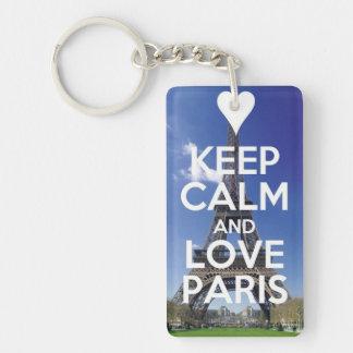 Love Paris Single-Sided Rectangular Acrylic Key Ring