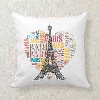 Love Paris White Background Throw Cushions