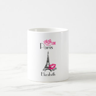 Love Paris with Eiffel Tower and Lipstick Lips Coffee Mug