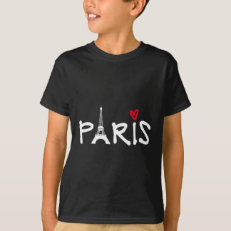Love Paris with Eiffel tower and red heart Tee Shirt