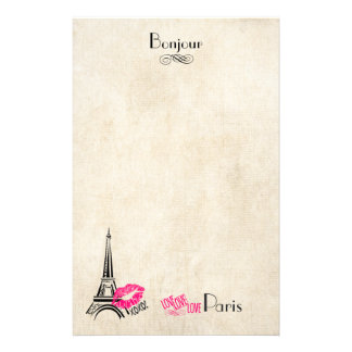 Love Paris with Eiffel Tower on Parchment Texture Custom Stationery