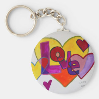 Love Patchwork Hearts Watercolor Painting Keychain