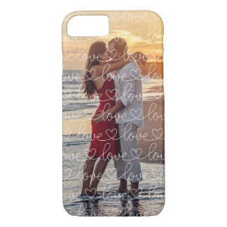 Love Pattern Overlay Photo iPhone 7 Case