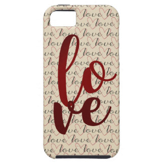 Love Pattern Word Hearts Tough iPhone 5 Case
