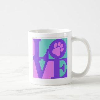 LOVE paw print Mugs