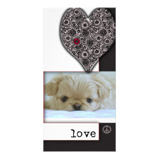 Love, peace and dogs photo card template
