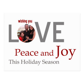 LOVE Peace and JOY customised greeting card