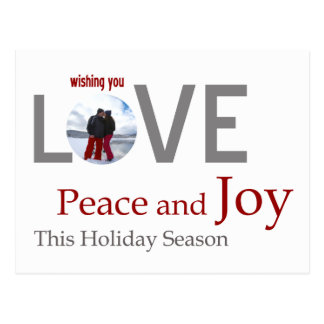 LOVE Peace and JOY customized greeting card