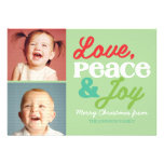 Love, Peace and Joy Family Colorful Photo Card