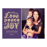 Love Peace and Joy | Gold Holiday Photo Card Custom Invitation