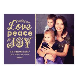 Love Peace and Joy   Gold Holiday Photo Card 13 Cm X 18 Cm Invitation Card