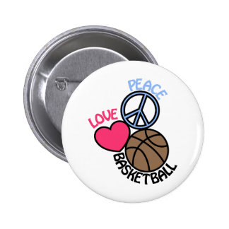 Love Peace Basketball 6 Cm Round Badge