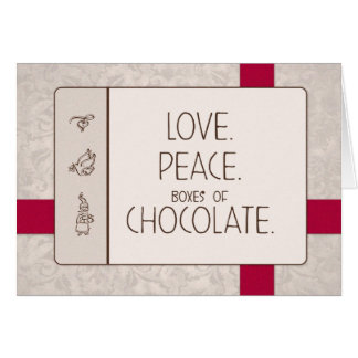 Love. Peace. Chocolate. Christmas Card