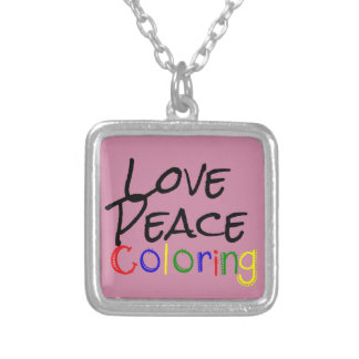 Love Peace Coloring Silver Plated Necklace