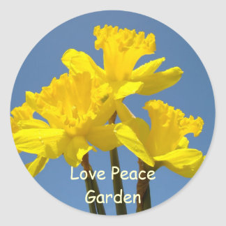 Love Peace Garden stickers Yellow Daffodils Blue