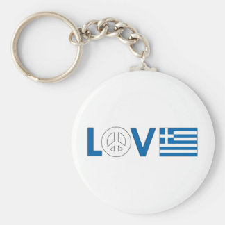 Love Peace Greece Basic Round Button Key Ring