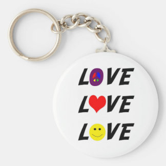 Love, Peace, Happiness Key Ring