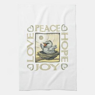Love, Peace, Hope, Joy Kitchen Towel