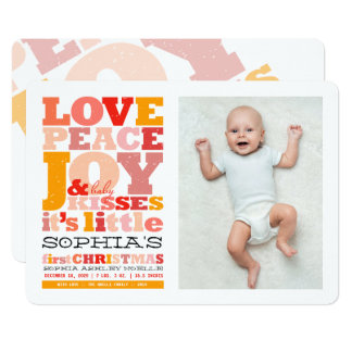 Love Peace Joy Fun Baby First Christmas Photo Card 13 Cm X 18 Cm Invitation Card