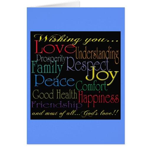 Love Peace Joy Happiness Greeting Card