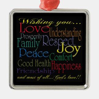 Love Peace Joy Happiness Ornament
