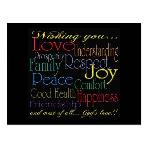 Love Peace Joy Happiness Postcard