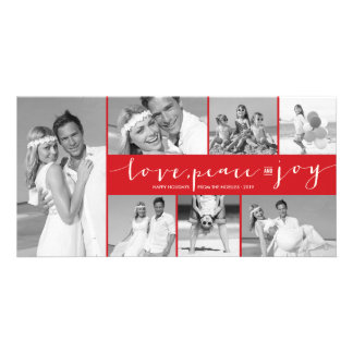 Love Peace Joy Modern Photo Collage Holiday Card Photo Cards