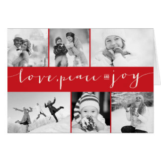 Love Peace Joy Multi Grid Holiday Photo Greetings Greeting Card