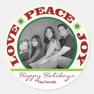 Love Peace Joy Snowflakes Holiday Photo Sticker
