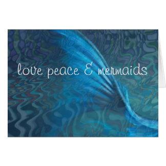 love peace & mermaids card