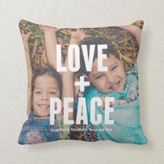 Love + Peace Modern Minimal Photo Typography Cushion