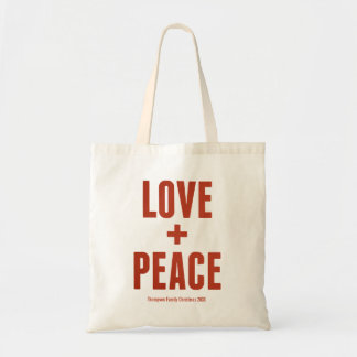 Love + Peace Modern Minimal Typography Holiday Tote Bag