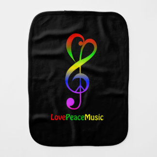 Love peace music hippie treble clef baby baby burp cloth