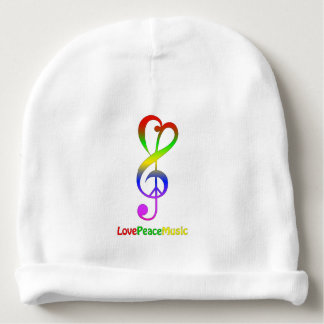 Love peace music hippie treble clef baby beanie