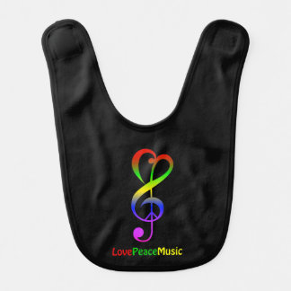 Love peace music hippie treble clef baby bib