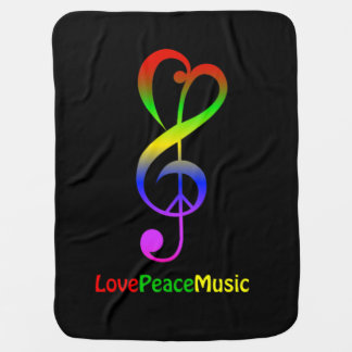 Love peace music hippie treble clef baby pram blanket