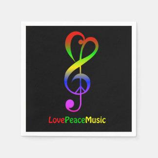 Love peace music hippie treble clef black disposable napkins