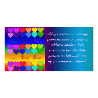Love, Peace, Rainbows Custom Photo Card