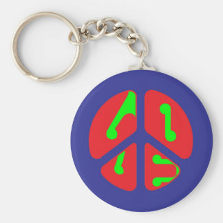 love peace sign basic round button key ring