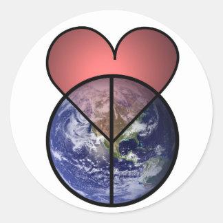 love peace world classic round sticker
