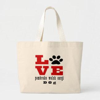 Love pembroke welsh corgi Dog Designes Large Tote Bag