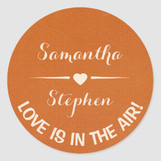 Love Personalized Heart White & Rust Brown Wedding Round Sticker