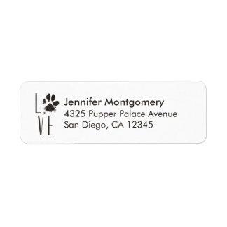 Love Pet Paw Print Brown Grunge Typography Return Address Label